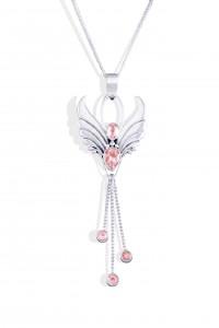 Fertility Rose Quartz silver angel pendant necklace.